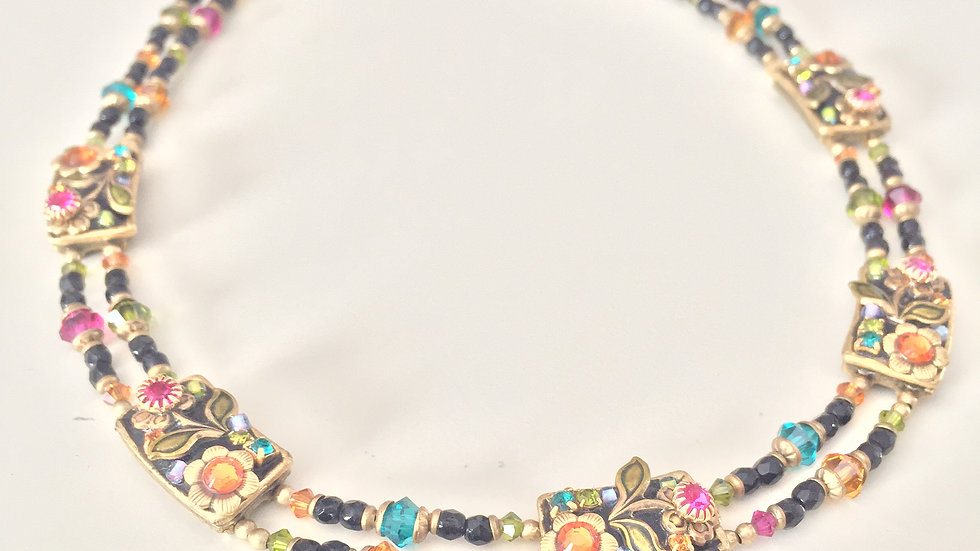 Floral Stone Layered Necklace