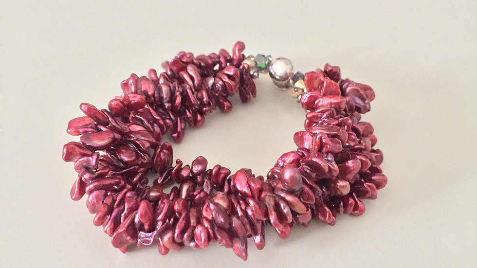 Pink Beaded Layered Bracelet