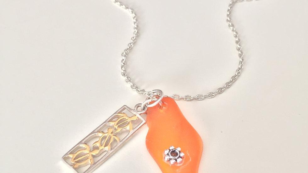Orange Sea Glass Charm Necklace
