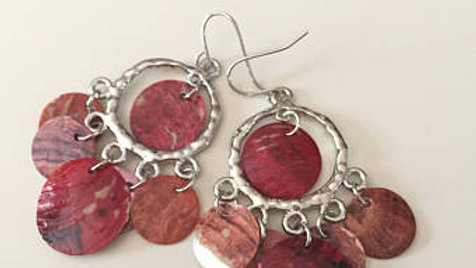 Red and Pink Dangle Earrings