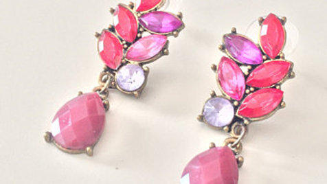 Red, Pink, and Purple Stone Earrings
