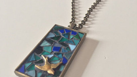 Stained Glass Dove Pendent Necklace