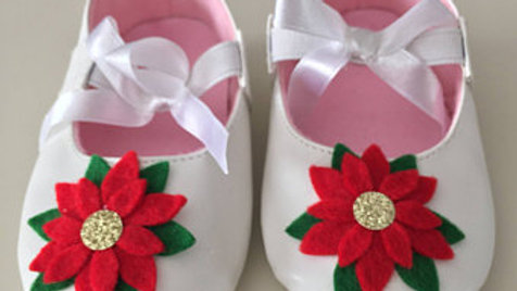 Christmas Poinsettia Baby Shoes (6-9 months)