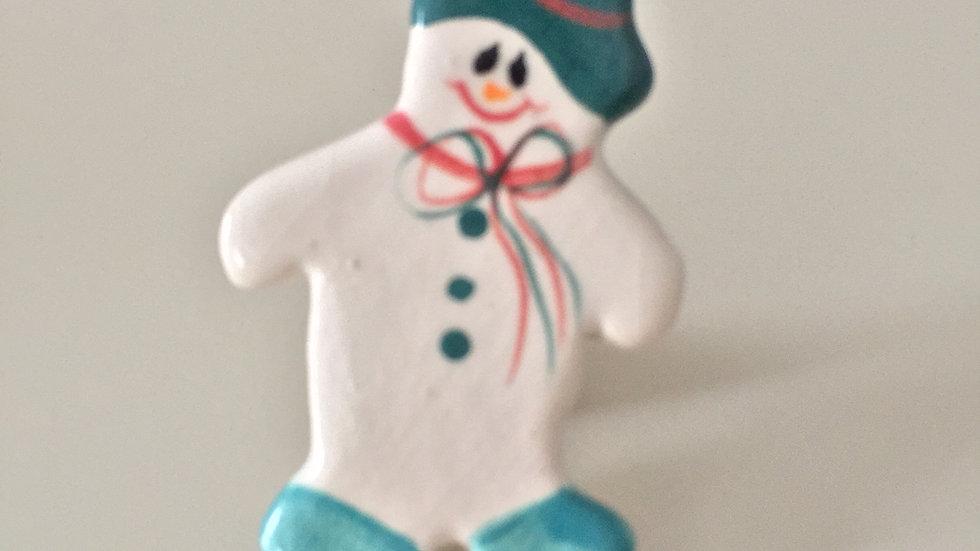 Blue Cap Snowman Pin