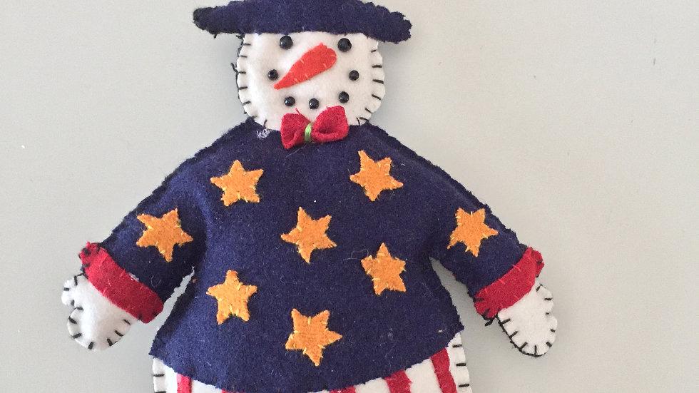 Uncle Sam Snowman Christmas Ornament