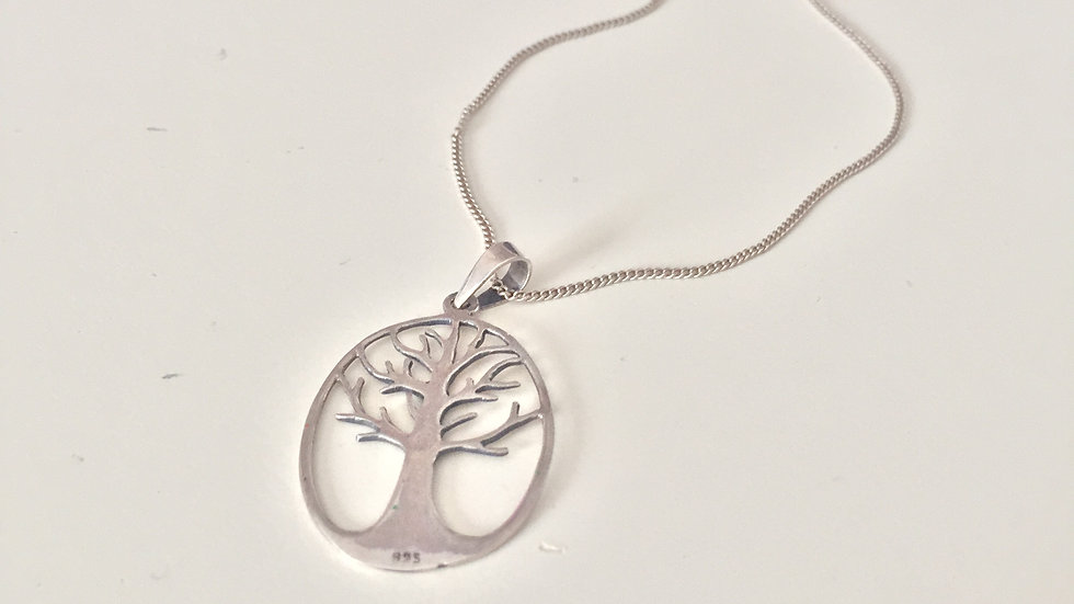 Silver Tree Charm Necklace