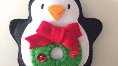 Penguin Wreath Christmas Ornament