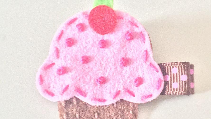 Pink Cupcake Hair Clip