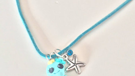 Blue Clay Octopus Necklace