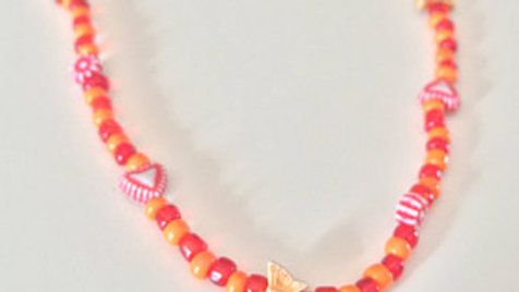 Red and Orange Butterfly Beaded Necklace