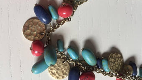 Red and Blue Pebble Necklace