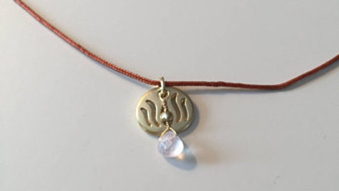Gold and Pale Pink Stone Necklace