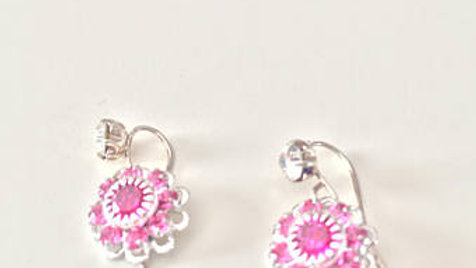 Rich Pink Flower Earrings