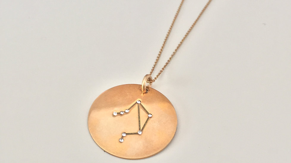 Gold Pendant Libra Symbol Necklace