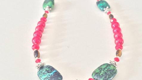 Red and Green Beaded Necklace