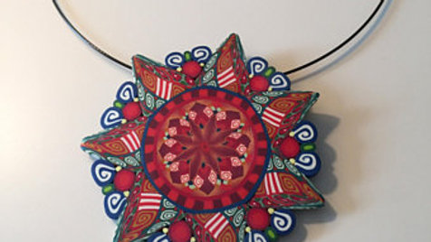 Multi Color Lotus Flower Pendent Necklace