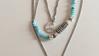 Silver Layered Necklace with Blue Accents