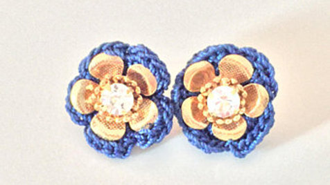 Gold and Blue Flower Earrings