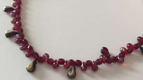Cranberry Red Beaded Necklace