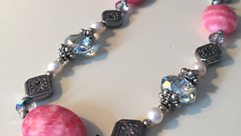 Pink and Silver Stone Necklace
