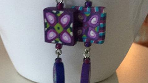 Purple Dangle Clay Earrings
