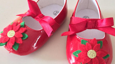Christmas Poinsettia Baby Shoes (3-6 Months)