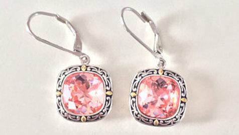 Framed Pink Stone Earrings