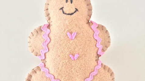 Pink Gingerbread Man Christmas Ornament
