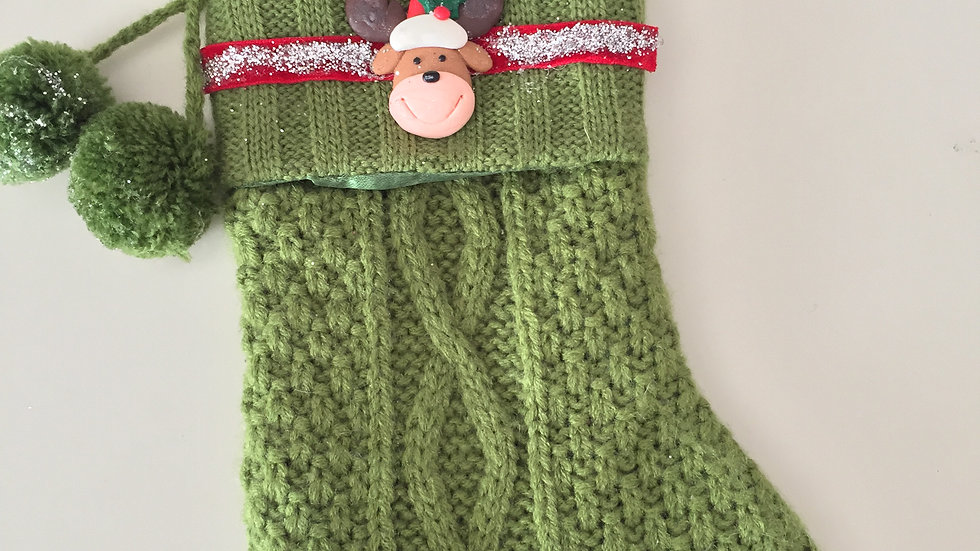 Small Green Knit Christmas Stocking