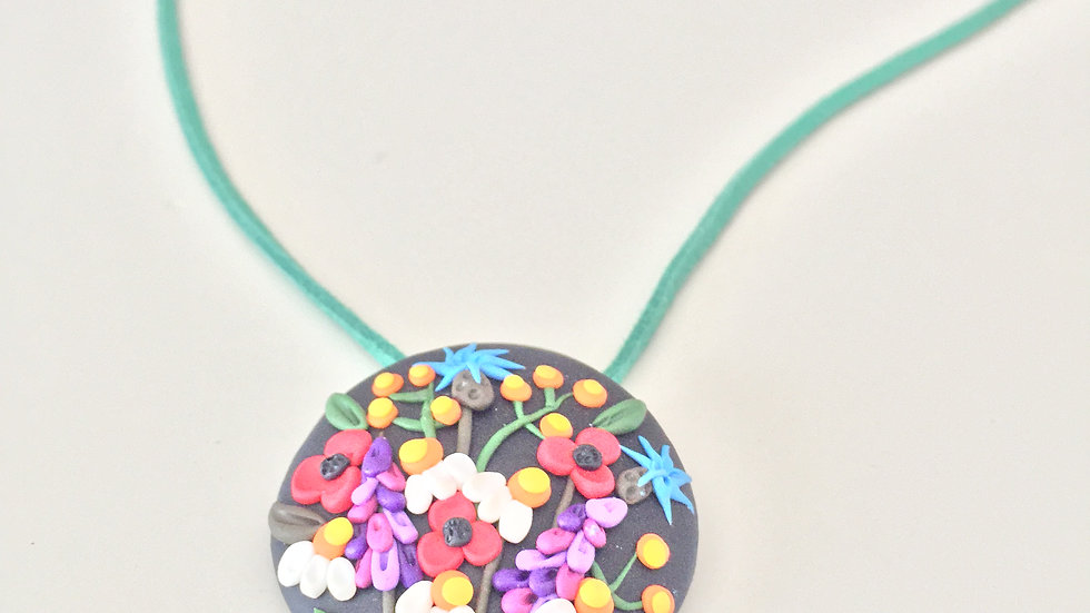 Floral Clay Pendent Necklace