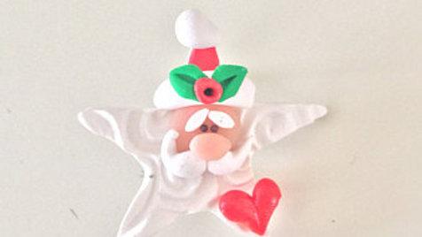 Star Santa Claus Clay Pin
