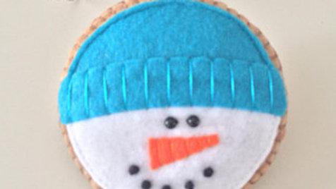 Blue Knit Cap Snowman Christmas Ornament