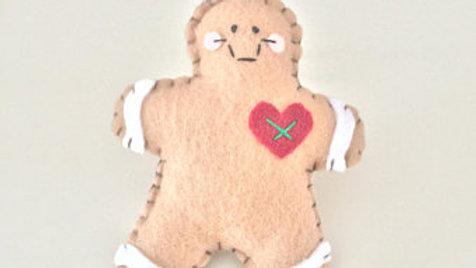 Gingerbread Man Heart Christmas Ornament