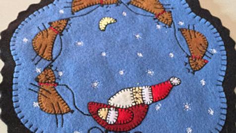 Blue Santa and Reindeer Penny Mat
