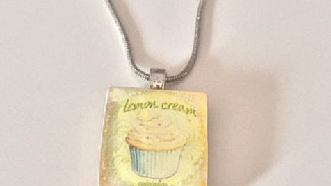 Yellow Lemon Cupcake Pendent Necklace