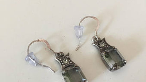 Silver and Gray Stud Earrings