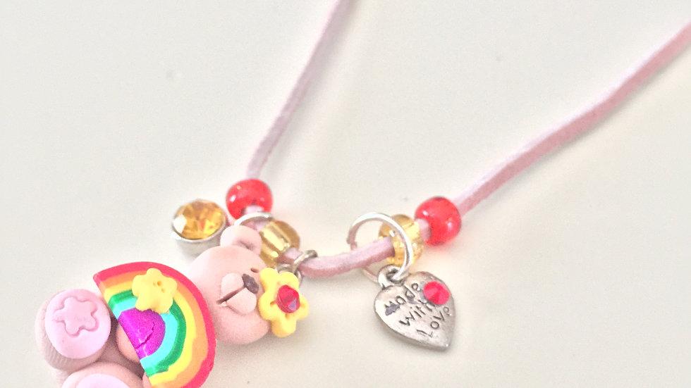 Clay Teddybear Charm Necklace