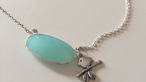 Blue Stone Necklace with Dove Charm