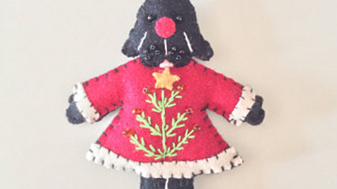 Black Doggy in Dress Christmas Ornament