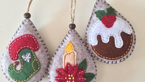 Set of Three Christmas Ornaments