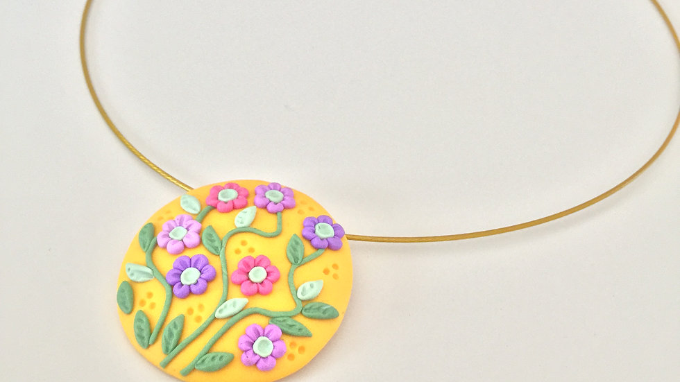 Floral Clay Pendant Necklace