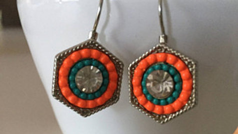 Orange and Turquoise Hexagon Earrings