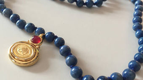 Blue Beaded Necklace with Gold Acorn Charm