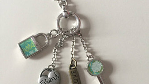 Silver Charm Necklace with Turquoise Accents