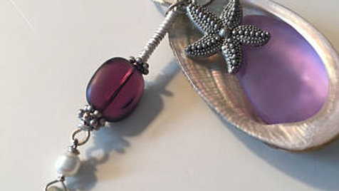 Purple Seashell Charm Necklace