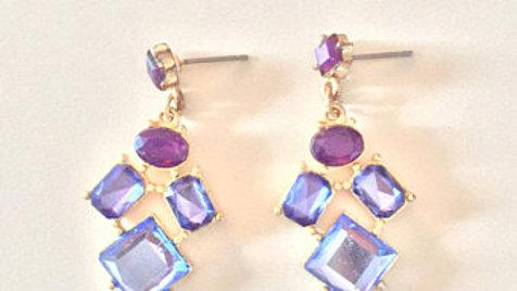 Blue and Deep Purple Stone Dangle Earrings