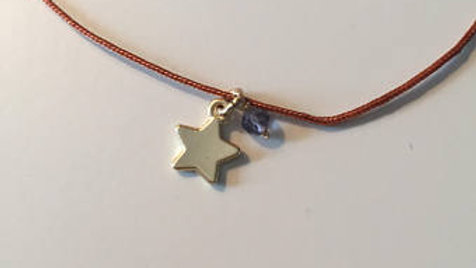 Purple and Gold Star Charm Necklace
