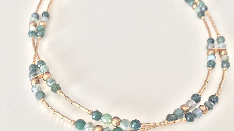 Sea Green Golden Layered Necklace