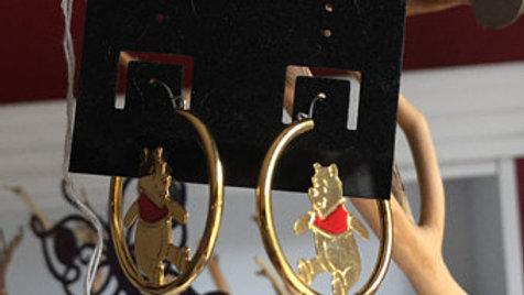 Winnie the Pooh Gold Hoop Earrings
