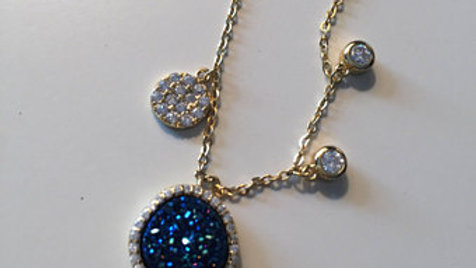 Blue and White Stone Gold Necklace